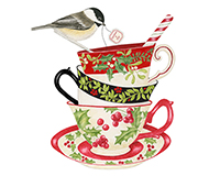 Holiday Teacup Flour Sack Towel (Set of 2)-AC34349