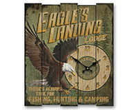 Wooden Cabin Clock Eagles Landing-AMEWCBK403