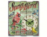 Songbird Cottages Wooden Cabin Sign Clock-AMEWCBK428