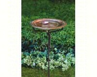 Solid Copper Bird Bath withIron Twig Base + Freight-ANCIENT95105