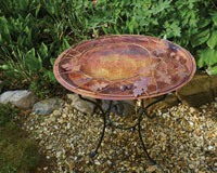 Oval Branch Flamed Standing Bird Bath-ANCIENTAG17044