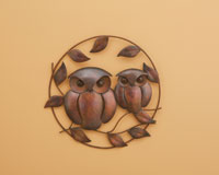 Owl Duo Flamed Wall Decor-ANCIENTAG83282