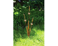 Triple Cattail Flamed Garden Stake-ANCIENTAG86038