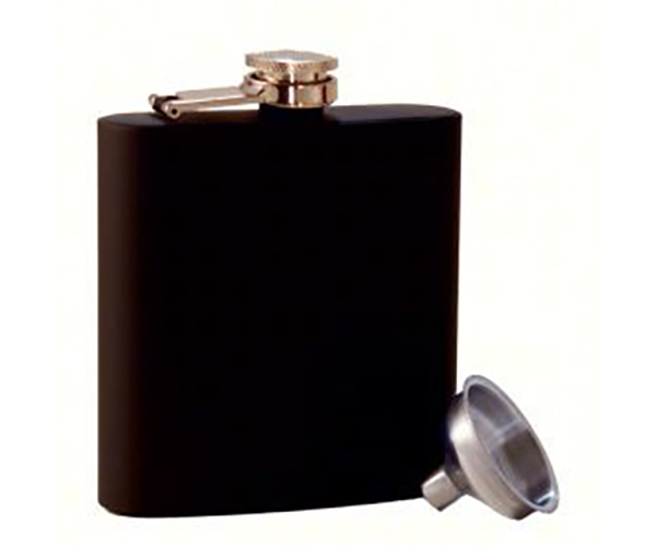 Grippy Black Stainless Steel Flask