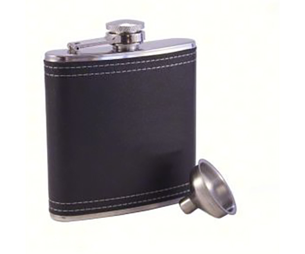 Black Faux Leather Stainless Steel Flask