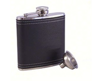 AF6 Leather Black Stainless Steel Flask-AF6LEATHERBLACK