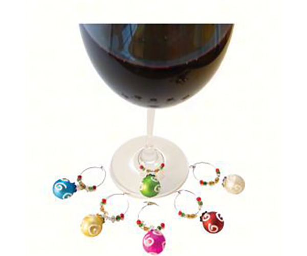 Ornament Wine Charms (6 per box) AWMWHITESWIRL'