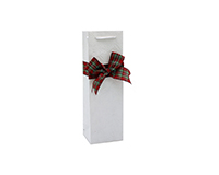 Handmade Paper Wine Bag - Poinsettia Embossed with Flannel Bow-BB1BOW