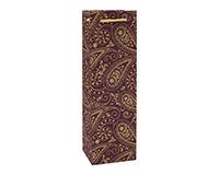 Handmade Paper Wine Bag - Paisley-BB1BURGPAISLEY