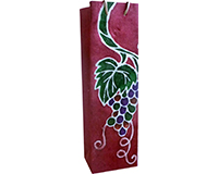 Handmade Paper Wine Bottle Bag - Batik Grapvine-BB1BURGUNDYBATI