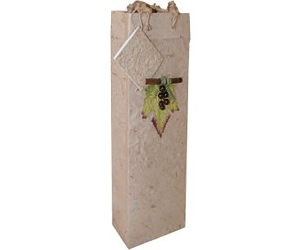 Handmade Paper Single Wine Bag - Natural BB1GLNATURAL'