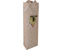 Handmade Paper Wine Bottle Bag - 3D Grape Cluster-BB1GLNATURAL