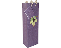 Handmade Paper Wine Bottle Bag - 3D Grape Cluster-BB1GLVIOLET
