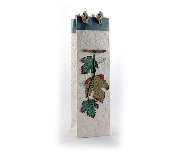 Handmade Paper Wine Bottle Bag - Harvest Leaves
