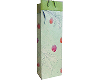Handmade Paper Wine Bottle Bag - Flowers-BB1PFMINT