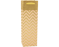 Handmade Paper Wine Bottle Bag - Gold & Pink Chevron-BB1PINKCHEVRON