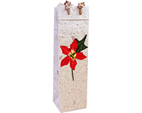 Handmade Paper Wine Bottle Bag - Red Poinsettia-BB1POINSETTIARE