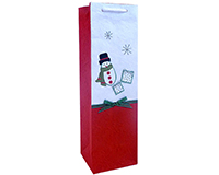 Holiday BB1 Snowman - Handmade Paper Single Bottle Bags BB1SNOWMAN
