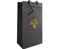 2 Bottle Handmade Paper Wine Bottle Bag  - Black-BB2GLBLACK