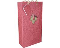 BB2 GL Burgundy - Handmade Paper Two Bottle Bags BB2GLBURGUNDY