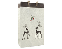 Holiday BB2 Mistletoe - Handmade Paper Two Bottle Bags BB2MISTLETOE