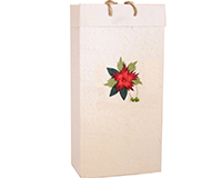 Holiday BB2 Red Flower - Handmade Paper Two Bottle Bags BB2REDFLOWER