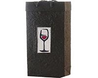 2 Bottle Handmade Paper Wine Bottle Bag  - Red Wine Glass-BB2REDWINE