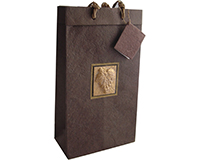 BB2 Tuscany Brown - Handmade Paper Two Bottle Bags BB2TUSCANYBROWN