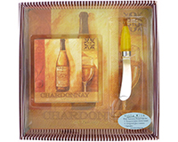 Chardonnay Glass Cheeseboard Coasters and Spreader Set-BGSCHARDONNAY