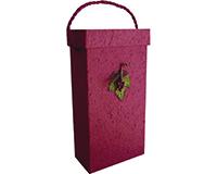 Box2 GC Burgundy - Handmade Paper Two Bottle Box BOX2GCBURGUNDY