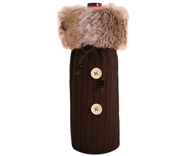 Cloth Bottle Bag - Brown with Fur