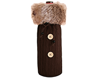 Cloth Bottle Bag - Brown with Fur-CKBROWN