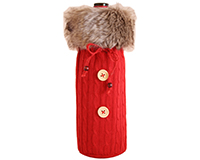 Cloth Bottle Bag - Red with Fur-CKRED