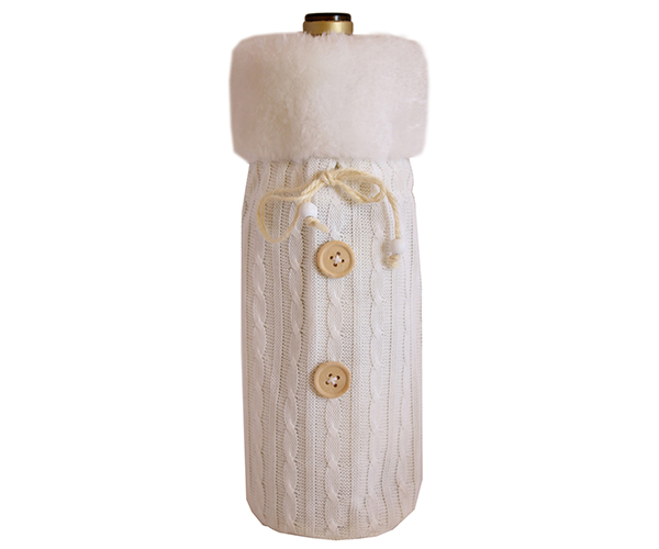 Cloth Bottle Bag - White with Fur