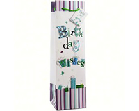 Printed Paper Wine Bottle Bag - Birthday Wishes-D1WISHES