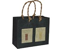 2 Bottle Handmade Paper Gourmet Bag - Black with Windows-GB2BLACK