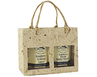 2 Bottle Handmade Paper Gourmet Bag - Natural with Windows-GB2MNATURAL