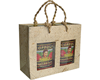 2 Bottle Handmade Paper Gourmet Bag - Natural with Windows-GB2NATURAL