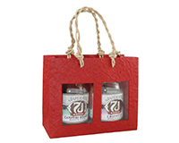 2 Bottle Handmade Paper Gourmet Bag - Red with Windows-GB2RED