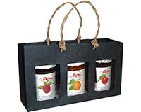 3 Bottle Handmade Paper Gourmet Bag - Black with Windows-GB3BLACK