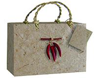 3 Bottle Handmade Paper Gourmet Bag - Chili-GB3CHILI
