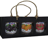 3 Bottle Handmade Paper Gourmet Bag -Black with Windows-GB3MBLACK