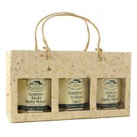 3 Bottle Handmade Paper Gourmet Bag -Natural with Windows-GB3MNATURAL
