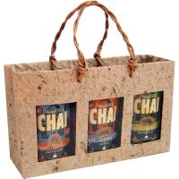 3 Bottle Handmade Paper Gourmet Bag -Natural with Windows-GB3NATURAL