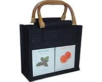 2 Bottle Jute Gourmet Bag - Black with Windows-GJ2BLACK