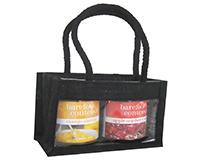 2 Bottle Jute mini Gourmet Bag - Black with Windows-GJ2MBLACK
