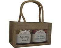 2 Bottle Jute mini Gourmet Bag - Natural with Windows-GJ2MNATURAL