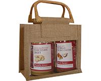 2 Bottle Jute mini Gourmet Bag - Natural with Windows-GJ2NATURAL