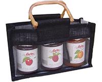 3 Bottle Handmade Paper Gourmet Bag -Black with Windows-GJ3BLACK
