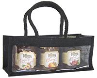 3 Bottle Handmade Paper Gourmet Bag -Black with Windows-GJ3MBLACK